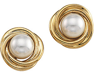 Fetching Knot 6mm Akoya Cultured Pearl Earrings in 14 karat Yellow Gold
