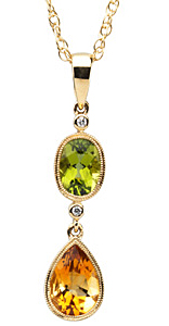 Fetching Oval Peridot, Pear Shape Citrine & Round Diamond Pendant set in 14 karat Yellow Gold - Free Chain - SOLD