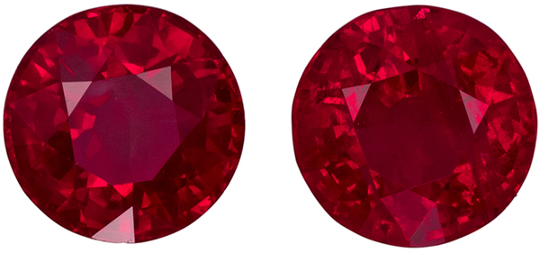 Fiery 1.76 carats Pair of Rubies for Studs in Round Cut, Intense Open Red Color in 5.5 mm