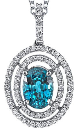 Fiery 4.55 ct Royal Blue Zircon Gemstone Pendant With Double Open Diamond Halo Frame - 18kt White Gold