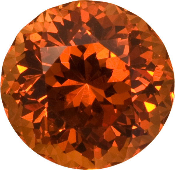 Fiery Burnt Orange Spessartite Garnet Gem in Round Cut, 9.2 x 9.2 mm, 4.3 carats