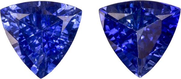 Fiery Ceylon Blue Sapphires in Well Matched Pair in Trillion Cut, 5.5 mm, 1.16 Carats
