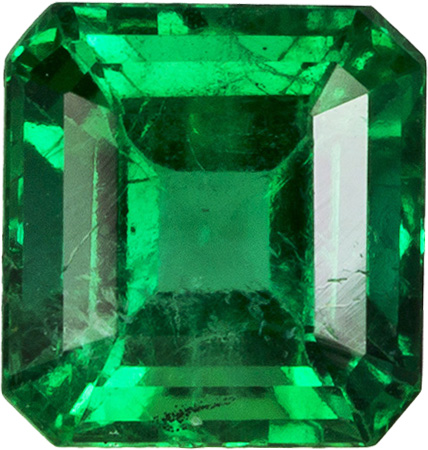 Fiery Clean Emerald Loose Gemstone in Rich Electric Green, 4.8 x 4.6 x mm, 0.52 carats