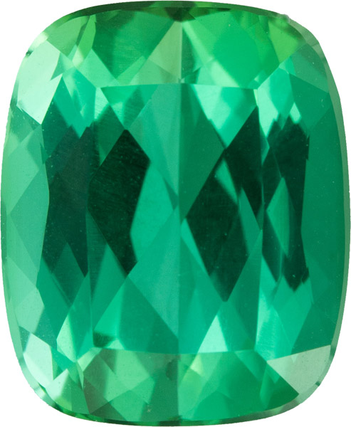 Fiery German Cut Blue Green Tourmaline Gem in Antique Cushion Cut, Blue Green, 11.2 x 9.2 mm, 5.48 carats