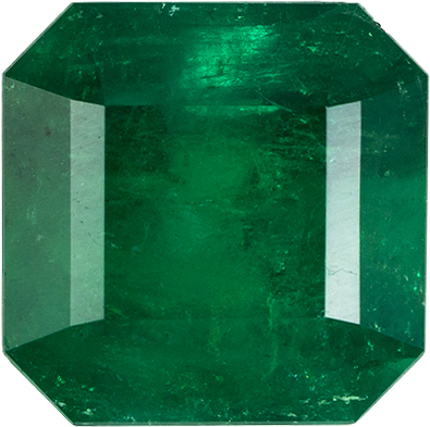 Fiery Loose Emerald Natural Columbian Gemstone in Square Cut, 9.7 mm, 4.36 Carats