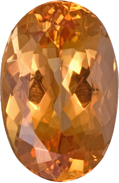 Fiery Loose Imperial Topaz Oval German Cut Gemstone, Rich Apricot Golden Color in 12.6 x 8.6 mm, 5.42 carats