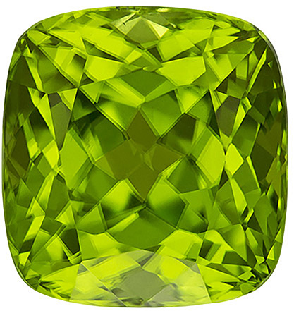 Fiery Loose Peridot Gem in Cushion Cut, Neon Lime Green Color, 12.7 x 12.1 mm, 12.41 carats