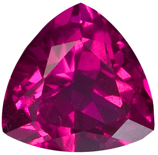Fiery Loose Red Tourmaline Gem in Trillion Cut, Bright Fuschia Red Color in 8.60 mm, 2.30 carats