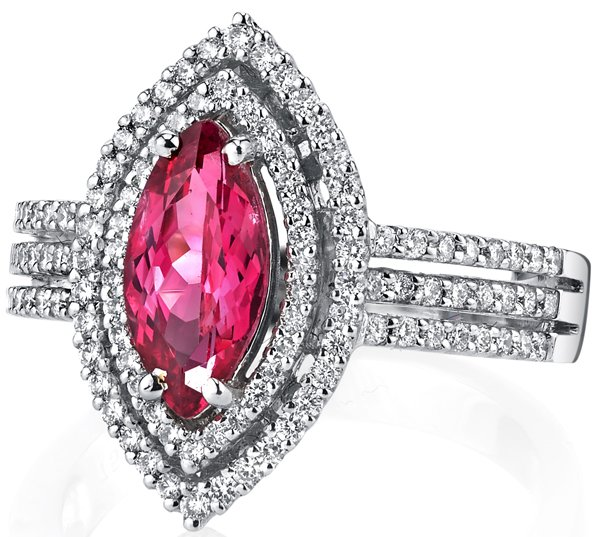 Fiery Mahenge Pinkish Red Spinel 1.4 carat Hand Crafted Ring in 18kt White Gold - Pave Diamond Accents