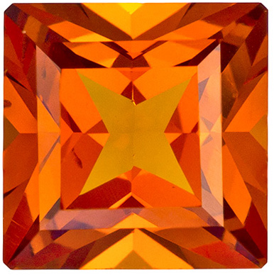 Fiery Orange Spessartite Garnet Gem in Princess Cut, Rich Hot Orange Color in 6.1 mm, 1.51 carats