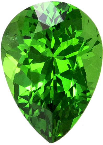 Fiery Rich Green Tsavorite  Pear Cut Gem for Sale in Rich Green Color in 6.7 x 4.8 mm, 0.78 carats
