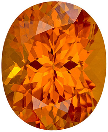 Fiery Rich Orange Spessartite Garnet Loose Gemstone in Oval Cut in 9.6 x 7.9 mm, 3.32 carats