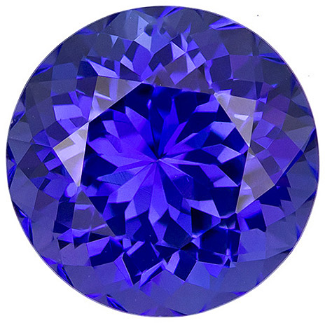 Fiery Round Cut Tanzanite in Rich Blue Purple Color in 10 mm, 4.32 carats