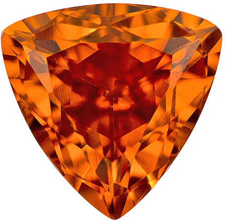 Fiery Spessartite Garnet Gem in Trillion Cut, Rich Pure Orange Color in 8.5 mm, 2.44 carats