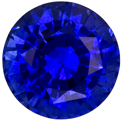 Fiery Stunning 6.5 mm Sapphire Loose Genuine Gemstone in Round Cut, Medium Blue, 1.47 carats