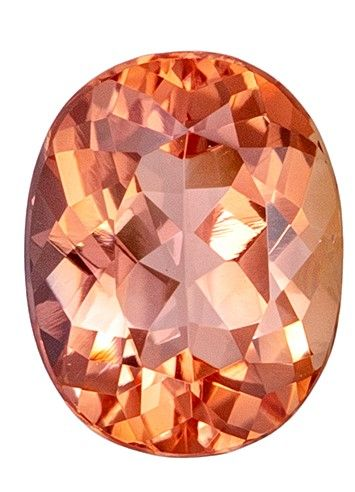 Fiery Stunning 7.6 x 6 mm Topaz Loose Gemstone in Oval Cut, Sherry Peach, 1.43 carats