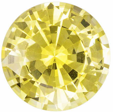 Fiery Yellow Sapphire from Ceylon Natural Gemstone in Round Cut, 8.3 mm, 2.57 Carats