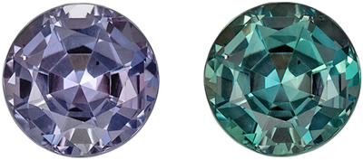 Fine Alexandrite Genuine Gemstone, 4.2 mm, Teal Blue Green to Burgundy, Round Cut, 0.39 carats
