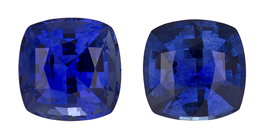 Fine Blue Sapphire Genuine Ceylon Gemstone Pair - Rich Color in Well Matched Pair 5mm Cushion Cut, 1.41 carats
