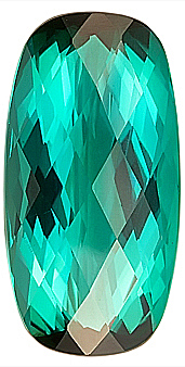 Fine Color, Blue Green Natural Tourmaline Gem, Elongated Oval Checkerboard Cut, 19.8 x 9.6 mm, 9.98 carats