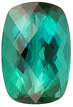 Fine Color, Blue Green Natural Tourmaline Gem Stone, Antique Cushion Cut, 16.4 x 11.3 mm,  Rose Cut 11.92 carats