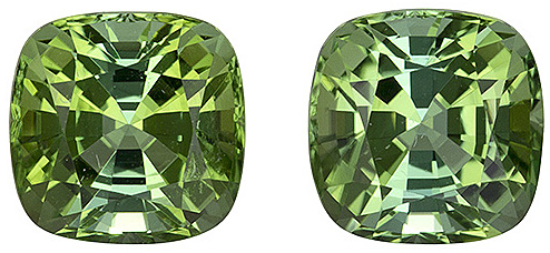 Fine Color in Minty Lime Green Tourmaline Afghanistan Gemstone Pair - Beautiful & Lively Pair, Excellent Cut in 6.3mm Cushion Cut, 2.84 carats