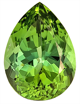Fine Cut Unique Green/Yellow Tourmaline Natural Gemstone, Pear Shape, 20.4 x 14.5 mm, 18.84 carats
