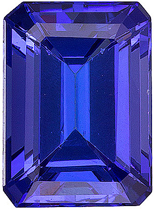 Fine, Faceted Genuine Tanzanite Gem, Unusual Rich Color for Size, Emerald Cut, 1.24 carats