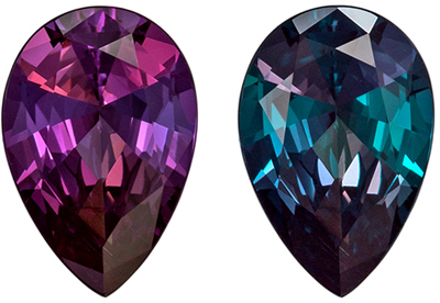 Fine Gem,  Gubelin Certified Alexandrite Genuine Gem, Teal to Eggplant, Pear Cut, 8.57 x 5.79 x 3.37 mm, 1.06 carats