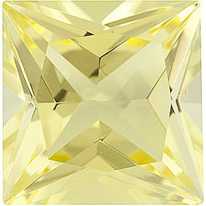 Fine Genuine Standard Princess Shape Lemon Quartz Gemstone Grade AA, 10.00 mm in Size, 4.35 Carats