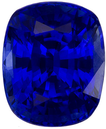 Fine Gorgeous Sapphire Loose Gem in Cushion Cut, Open Rich Blue, 8.8 x 7.2 mm, 3.22 carats