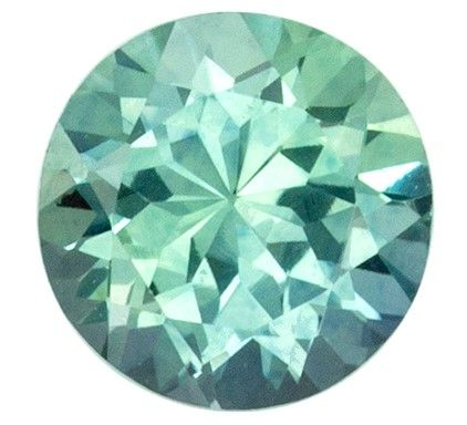 Fine Loose 0.63 carats Sapphire Genuine Gemstone in Round Cut, Seafoam Green, 4.9 mm