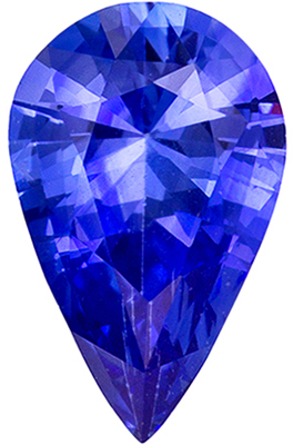 Fine Loose 0.78 carats Sapphire Genuine Gemstone in Pear Cut, Rich Blue, 8 x 5 mm