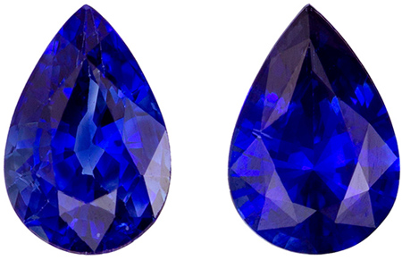 Fine Loose 0.99 carats Sapphire Loose Genuine Gemstone Pair in Pear Cut, Rich Blue, 6 x 4 mm