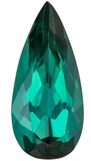 Fine Loose 11.3 x 5.2 mm Tourmaline Genuine Gemstone in Pear Cut, Teal Blue, 1.35 carats