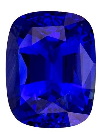 Fine Loose 3.06 carats Sapphire Genuine Gemstone in Cushion Cut, Rich Blue, 8.9 x 6.9 mm