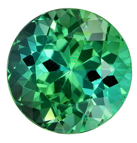Fine Loose 4.72 carats Tourmaline Genuine Gemstone in Round Cut, Blue Green, 10.4 mm