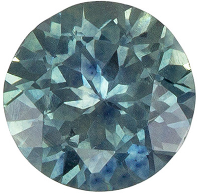 Fine Loose 5.5 mm Sapphire Loose Genuine Gemstone in Round Cut, Medium Blue Green, 0.81 carats