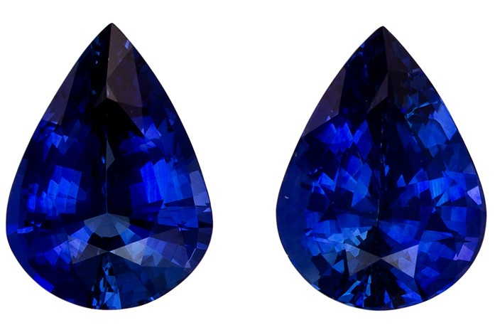 Fine Loose 7.9 x 5.9 mm Sapphire Genuine Gemstone Pair in Pear Cut, Vivid Blue, 2.31 carats