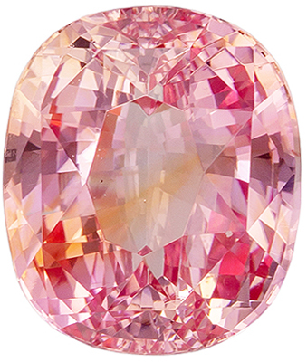 Fine Loose 7.9 x 6.7 mm Sapphire Loose Gemstone in Cushion Cut, Orange Pink, 2.18 carats