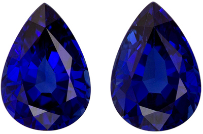 Fine Loose 7 x 5 mm Sapphire Loose Genuine Gemstone Pair in Pear Cut, Vivid Blue, 1.86 carats