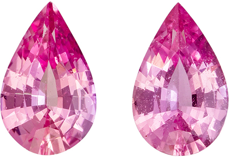 Fine Natural 1.03 carats Sapphire Genuine Gemstone Pair in Pear Cut, Pure Pink, 6.8 x 4.2 mm