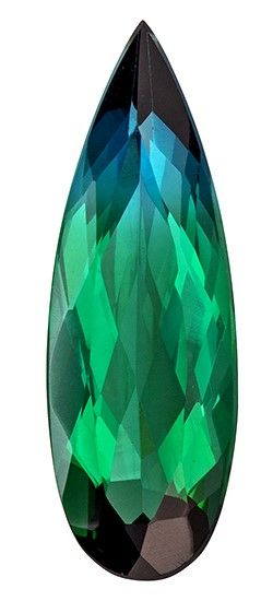 Fine Natural 1.87 carats Tourmaline Loose Gemstone in Pear Cut, Blue Green, 16 x 5.5 mm