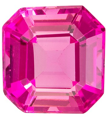 Fine Natural 1.99 carats Tourmaline Genuine Gemstone in Emerald Cut, Vivid Pink, 7.8 x 7.5 mm
