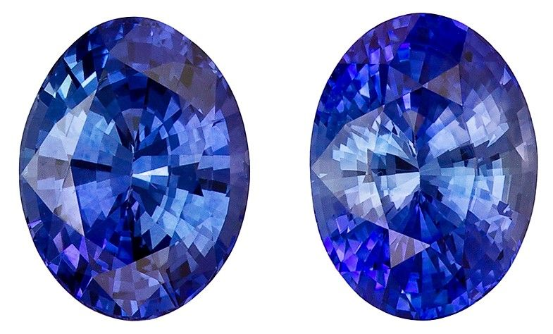 Fine Natural 3.14 carats Sapphire Loose Gemstone Pair in Oval Cut, Intense Blue, 8 x 6 mm