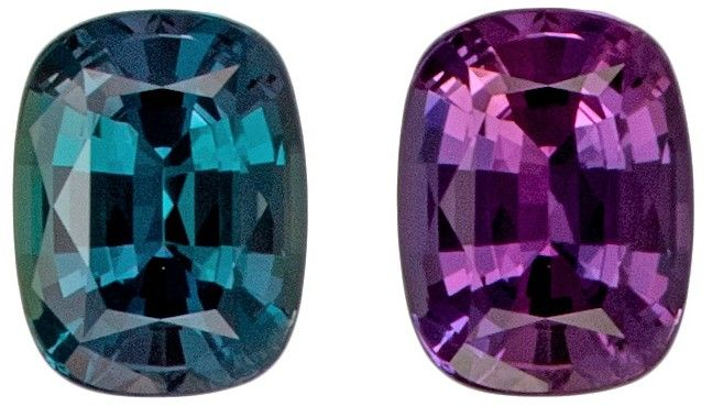 Fine Natural 4.4 x 3.4 mm Alexandrite Loose Gemstone in Cushion Cut, Teal Blue to Rich Burgundy, 0.3 carats