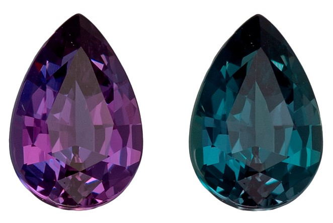Fine Natural 5.6 x 3.8 mm Natural Fine Alexandrite Gemstone in Pear Cut, Rich Teal to Burgundy Eggplant, 0.38 carats