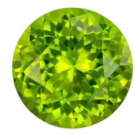 Fine Natural 8 mm Peridot Loose Gemstone in Round Cut, Lime Green, 1.86 carats