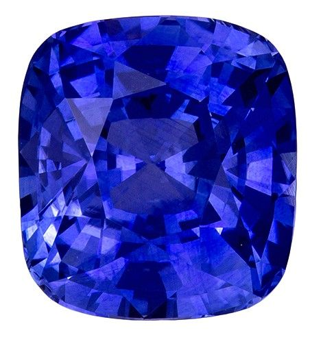 Fine Natural 9.2 x 8.4 mm Sapphire Genuine Gemstone in Cushion Cut, Rich Blue, 4.38 carats