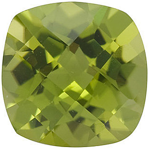 Standard Size Genuine Loose Antique Square Checkerboard Peridot Gem Grade AAA, 6.00 mm in Size, 1.1 Carats
